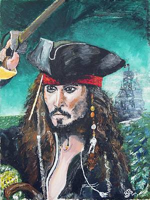 Pirates Of The Caribbean Painting - Captain Jack Sparrow by Bruce Schmalfuss