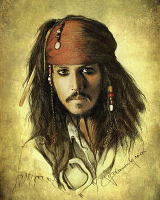 Drawing - Captain Jack Sparrow by Jaroslaw Blaminsky
