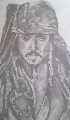 Drawing - Captain Jack Sparrow by Pauline Murphy