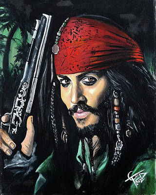 Johnny Depp Painting - Captain Jack Sparrow by Tom Carlton