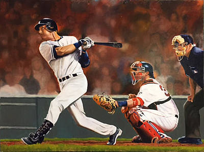 Painting - Captain - Jeter by Rick Fitzsimons