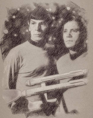 Celebrities Royalty Free Images - Captain Kirk and Spock from Star Trek Royalty-Free Image by Esoterica Art Agency