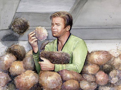 Science Fiction Painting - Captain Kirk And Tribbles by Olga Shvartsur