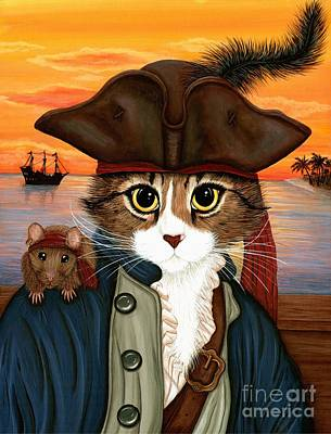Painting - Captain Leo - Pirate Cat And Rat by Carrie Hawks