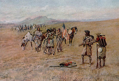 Person Drawing - Captain Meriwether Lewis With Drewyer And Shield Meeting The Indians by Charles Marion Russell