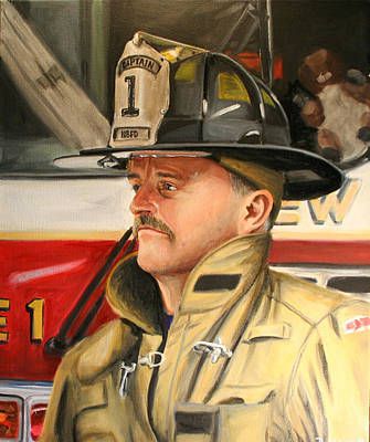 Fireman Painting - Captain by Paul Walsh