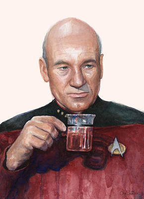 Hot Painting - Captain Picard Star Trek Tea. Earl Grey. Hot. by Olga Shvartsur