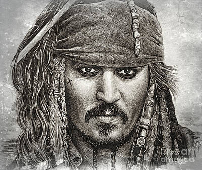 Drawing - Captain Sparrow Ship Ahoy Edit by Andrew Read