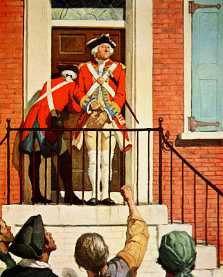 Colonial Troops Painting - Captain Tennant With The Crowd In Front  by Newell Convers Wyeth