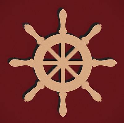Mixed Media - Captain's Wheel by Dan Sproul