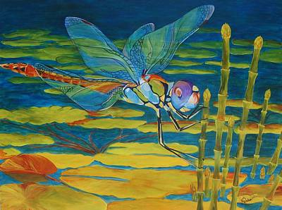 Dragonfly Pond Painting - Captivated by Karen Dukes