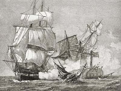 Sailboats Drawing - Capture Of The Guerriere By The Constitution by American School