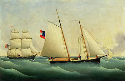 Painting - Capture Of The Savannah By The U.s.s. Perry by Fritz Muller