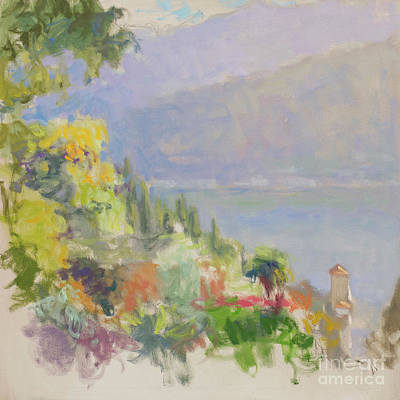 Lake Como Painting - Captured By A Warm Morning Breeze by Jerry Fresia