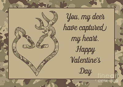 Digital Art - Captured Deer Valentine by JH Designs