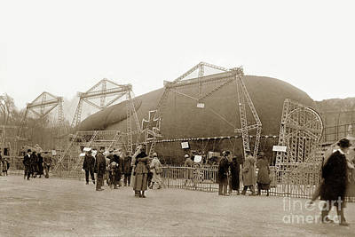 Photograph -  Captured German Observation Balloon, Paris 1918 by California Views Mr Pat Hathaway Archives