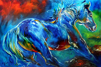 Bold Colors Painting - Captured Wild Stallion by Marcia Baldwin