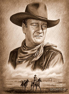 John Wayne Drawings Drawing - Captured  Ye Old Wild West Edit by Andrew Read