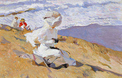 Lady On The Beach Painting - Capturing The Moment by Joaquin Sorolla y Bastida