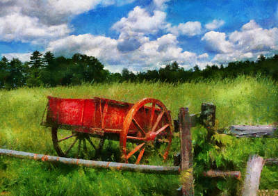 Photograph - Car - Wagon - The Old Wagon Cart by Mike Savad