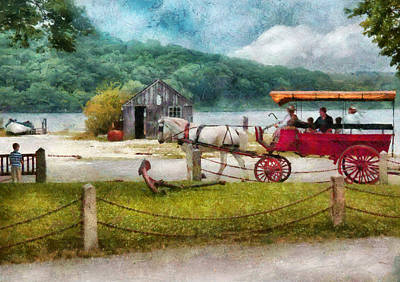 Car - Wagon - Traveling In Style Art Print by Mike Savad