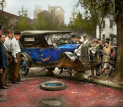 Photograph - Car Accident - It Came Out Of Nowhere 1926 by Mike Savad