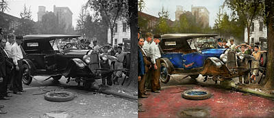 Car Accident - It Came Out Of Nowhere 1926 - Side By Side Art Print by Mike Savad