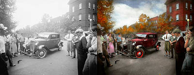 Police Art Photograph - Car - Accident - Late For Tee Time 1932 - Side By Side by Mike Savad