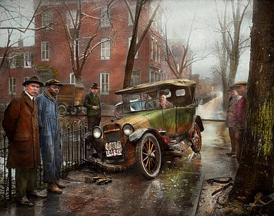 Photograph - Car Accident - Watch For Ice 1921 by Mike Savad