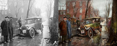 Photograph - Car Accident - Watch For Ice 1921 - Side By Side by Mike Savad
