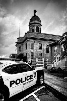 County Police Photograph - Car And Courthouse In Black And White by Greg Mimbs