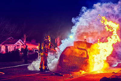 Art Print featuring the photograph Car Arson  by TC Morgan