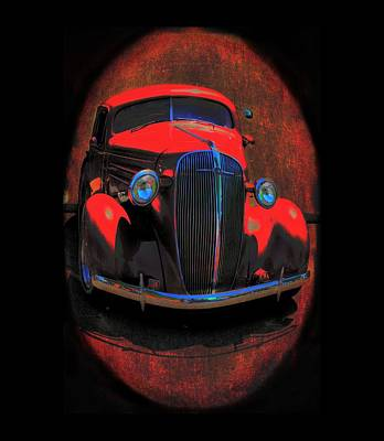 Mixed Media - Car Art 0443 Red Oval by Lesa Fine