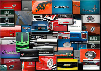 Challenger Digital Art - Car Badges Emblems Collage Rectangle by Thomas Woolworth