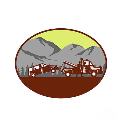 Car Being Towed Away Mountains Oval Woodcut Print by Aloysius Patrimonio