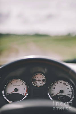 Photograph - Car Cockpit And A Dirt Road In The Field. by Michal Bednarek
