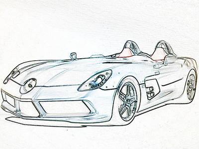 Super Car Drawing - Car by Optimus Felder