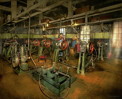Photograph - Car - Factory - Engine Testing 1903 by Mike Savad