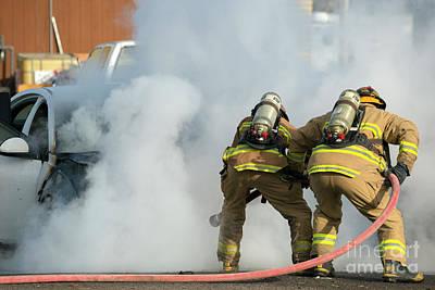 Photograph - Car Fire by Mike Dawson