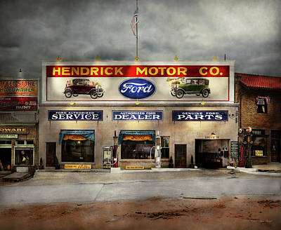 Photograph - Car - Garage - Hendricks Motor Co 1928 by Mike Savad