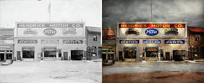 Print featuring the photograph Car - Garage - Hendricks Motor Co 1928 - Side By Side by Mike Savad