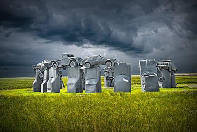 Car Henge In Alliance Nebraska After England's Stonehenge Art Print by Randall Nyhof