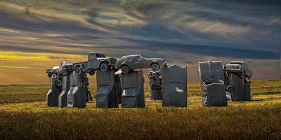 Photograph - Car Henge In Alliance Nebraska At Sunset Panorama by Randall Nyhof