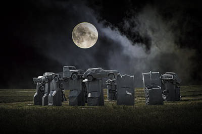 Photograph - Car Henge Under The Moonlight by Randall Nyhof