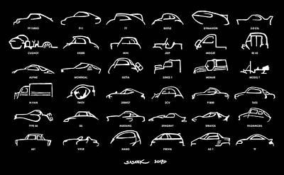 Car Icons Black Art Print by Sasank Gopinathan