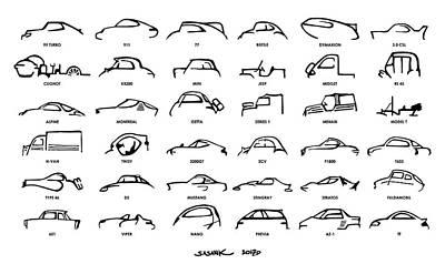 Car Icons White Art Print by Sasank Gopinathan