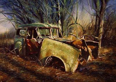 Painting - Car In A Wood by David  Poxon