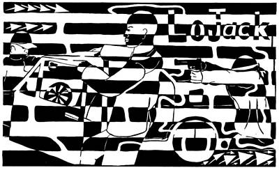 Maze Ads Drawing - Car-jacking Maze For Lojack Advert by Yonatan Frimer Maze Artist