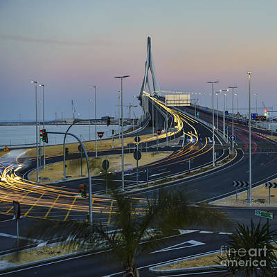 Photograph - Car Light Streaks On 1812 Constitution Bridge At Dusk Cadiz Spain by Pablo Avanzini