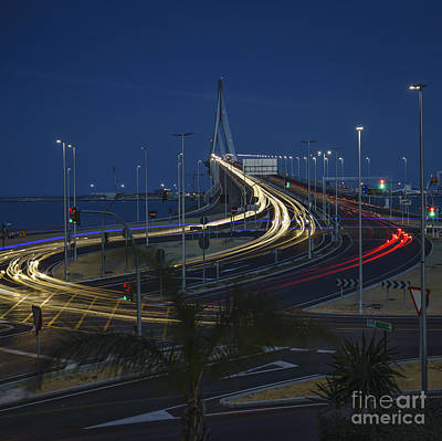 Photograph - Car Light Streaks On 1812 Constitution Memorial Bridge Cadiz Spain by Pablo Avanzini